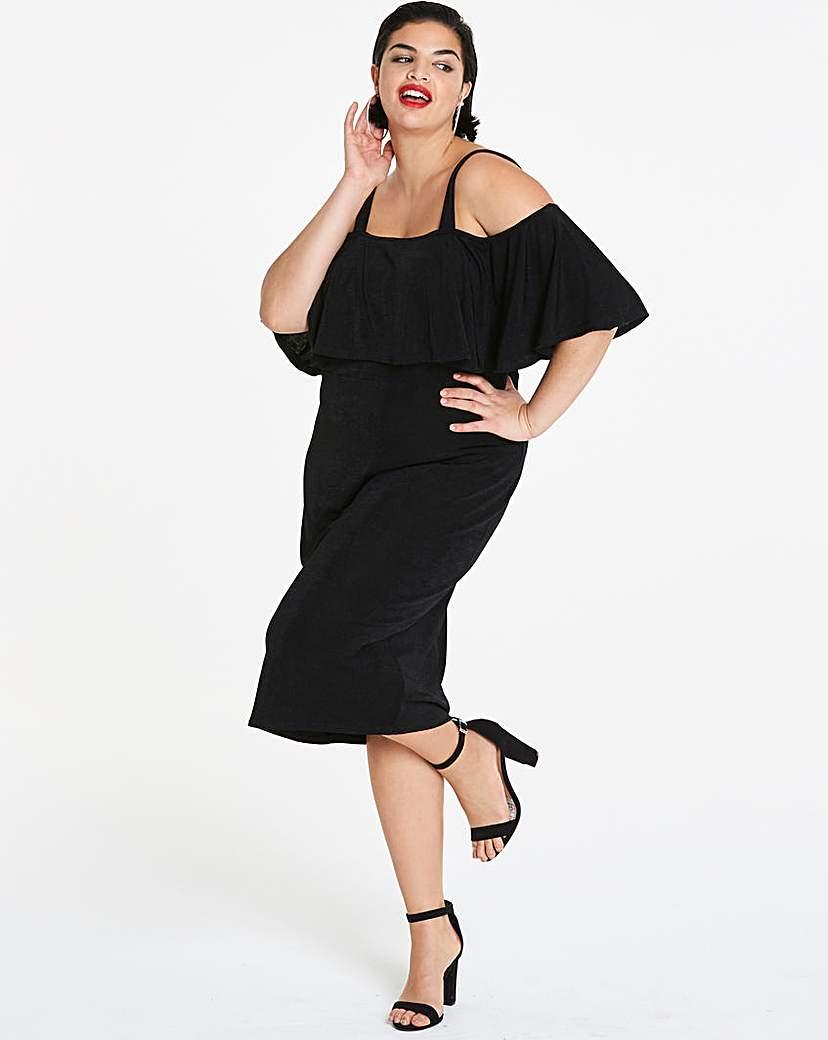 Simply Be Strappy Bardot Midi Bodycon Dress