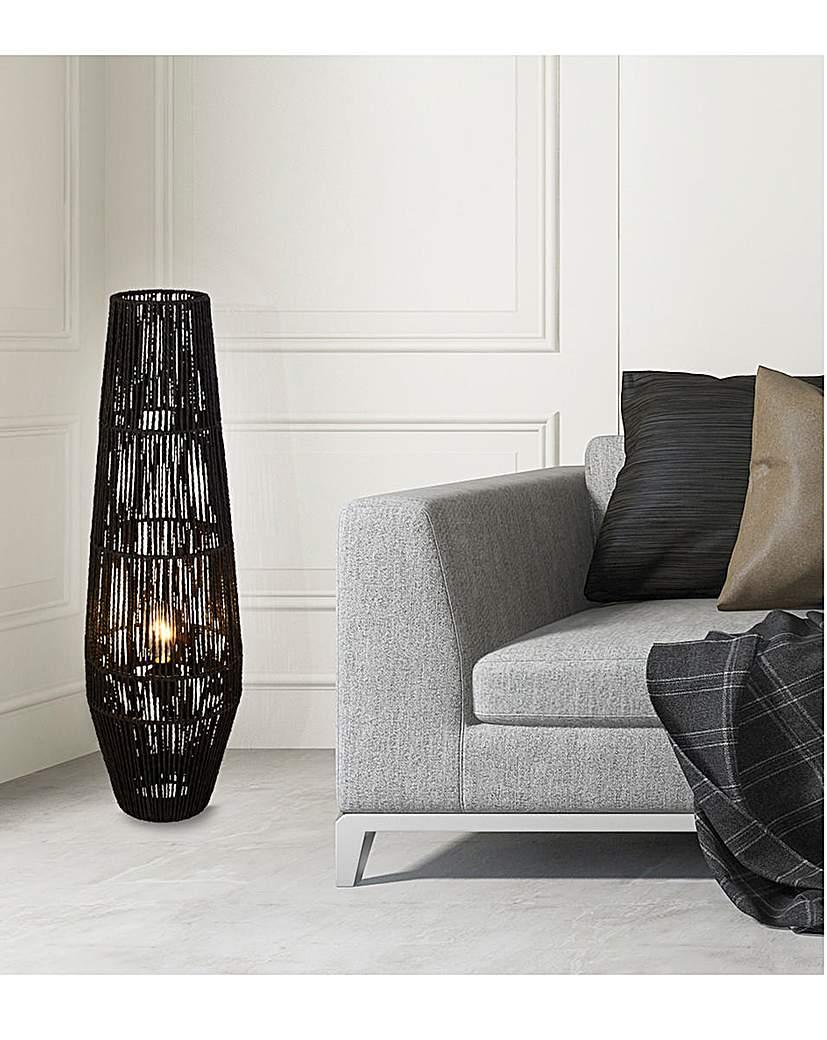 Samira Black Rattan Floor Lamp