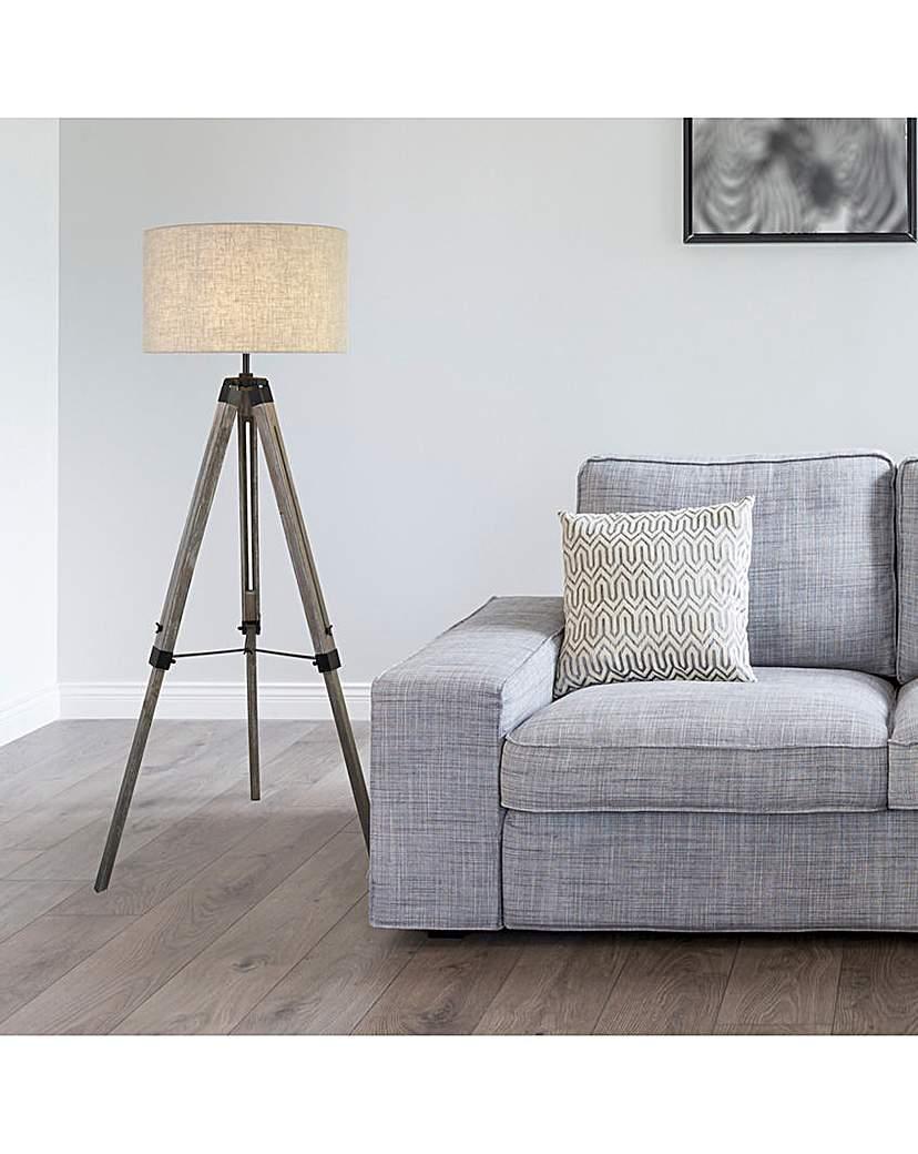 Lund Wood Tripod Floor Lamp