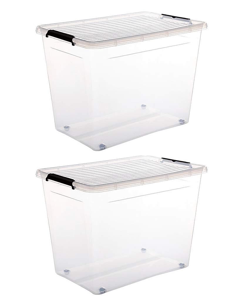 Set of 2 60L Easy Roll Wheel Storage Box
