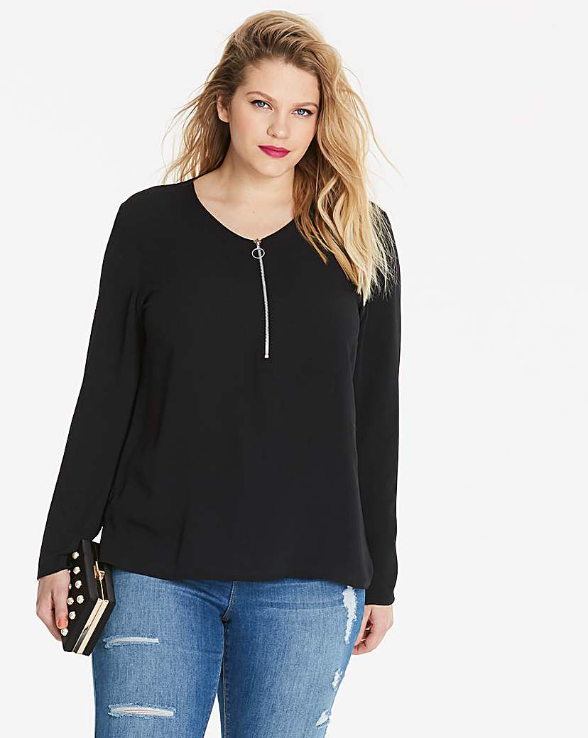 Simply Be Black Zip Front Blouse