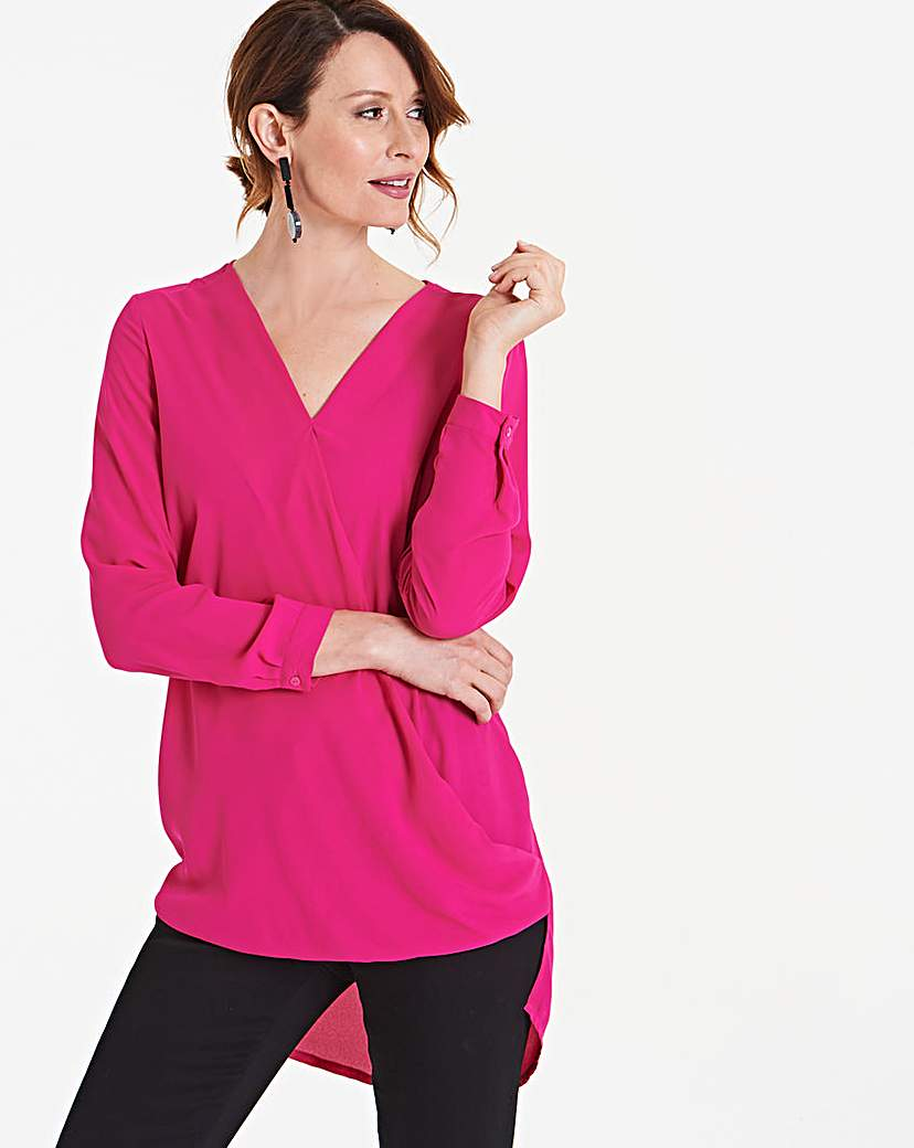 Pink Longer Length Wrap Blouse