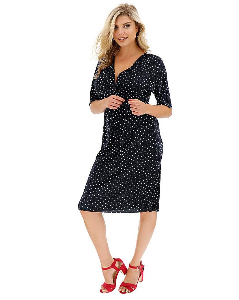 Simply Be Spot Plisse Wrap Dress