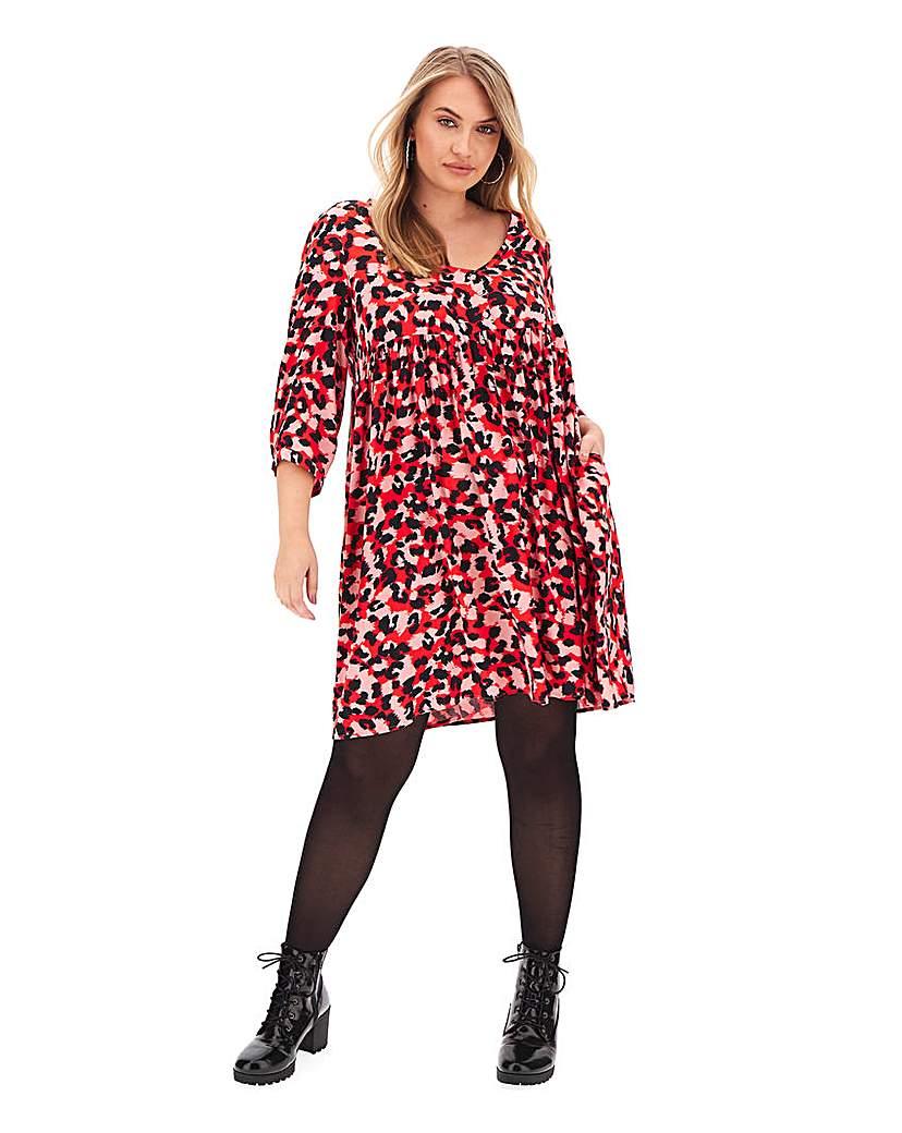 Simply Be Pink Animal Print Smock Dress