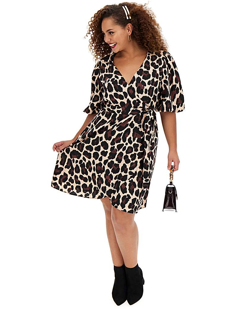 Simply Be Puff Sleeve Wrap Skater Dress