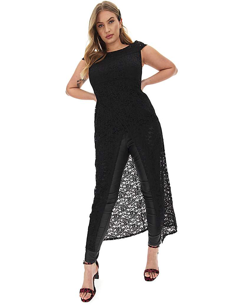 Simply Be Black Lace Maxi Wrap Tunic