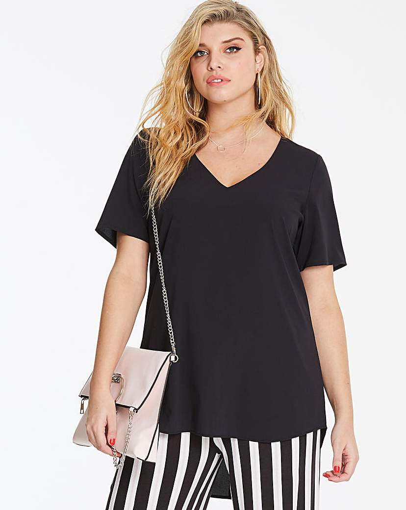 Black V-Neck Stepped Hem Blouse