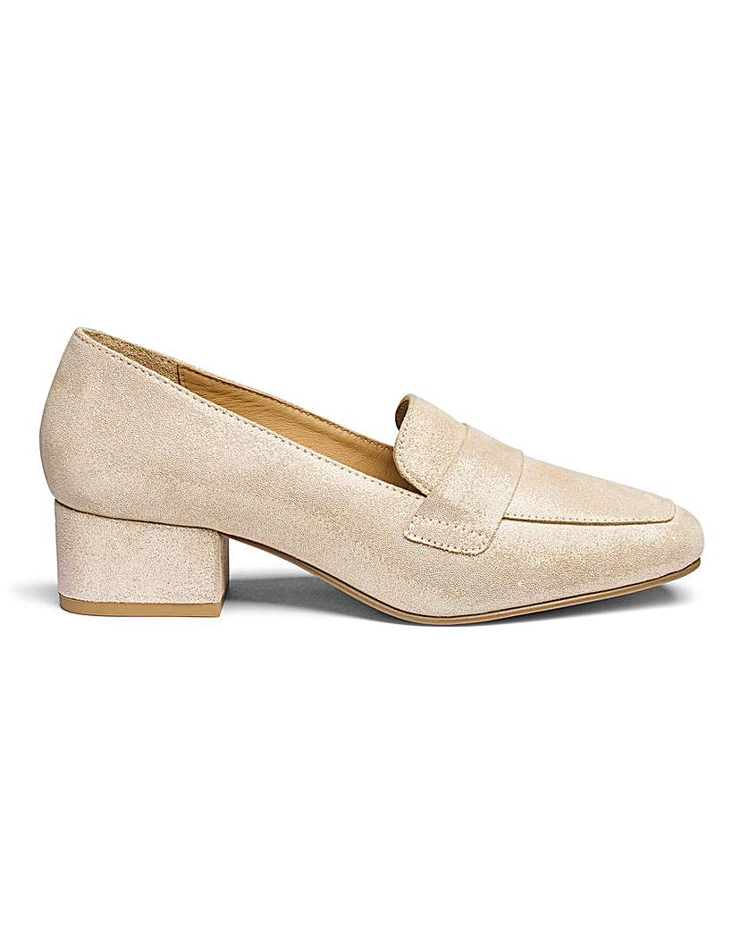Leather Block Heel Loafers EEE Fit