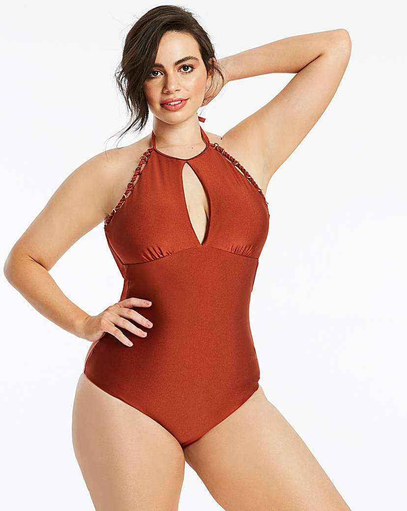 Simply Be High Neck Chain Trim Swimsuit