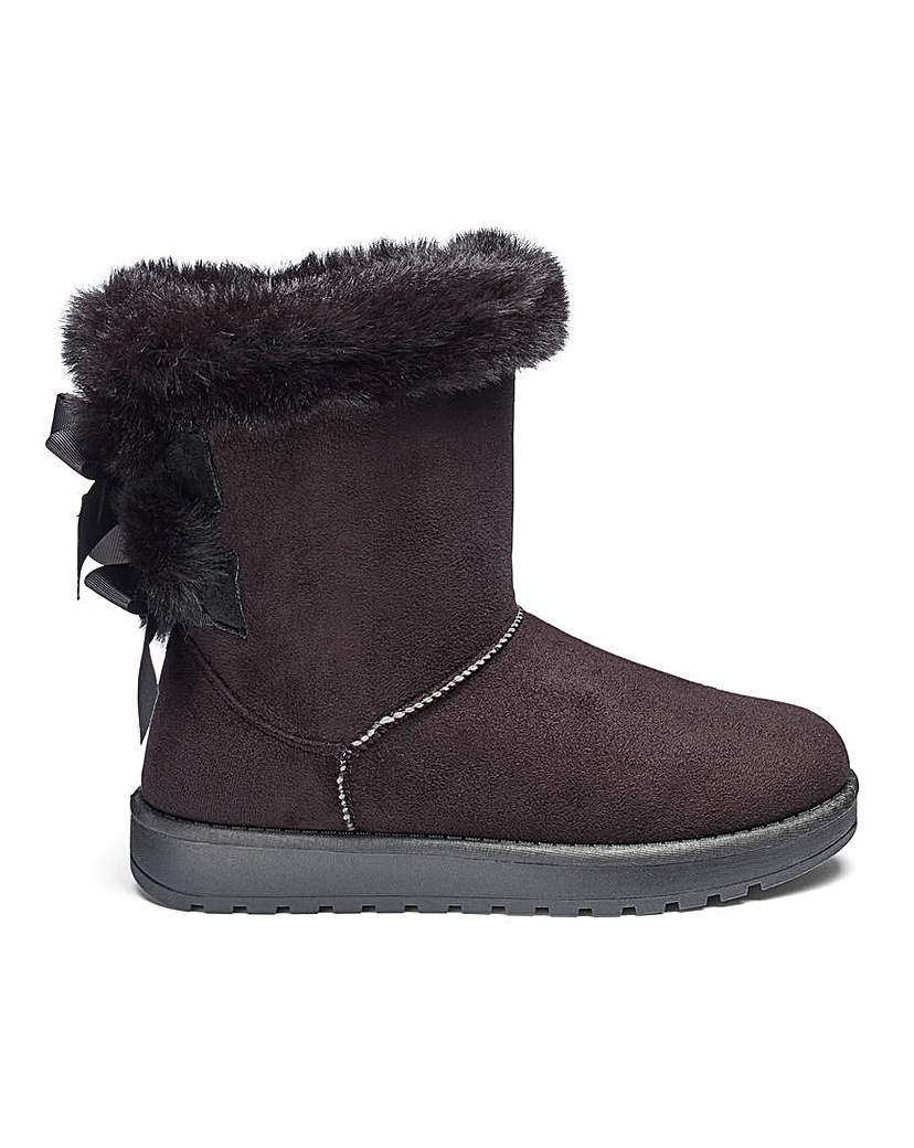 bow detail warm lined boots e fit