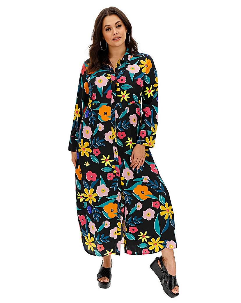 Neon Rose Floral Print Maxi Shirt Dress