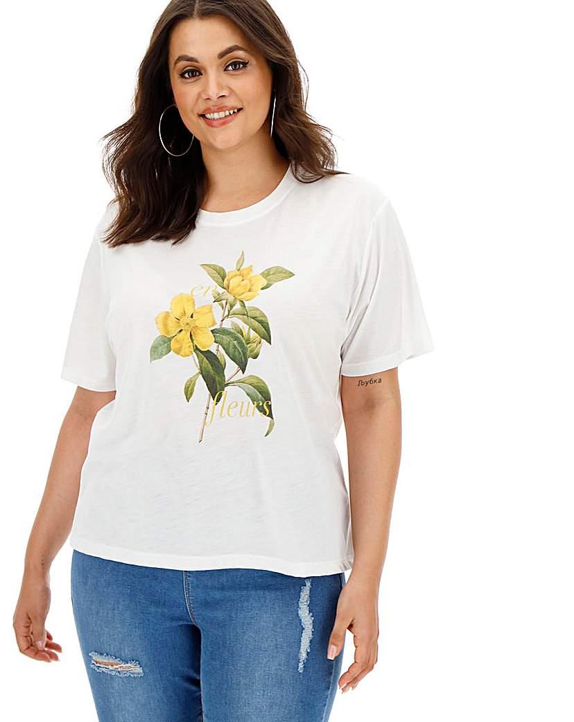 Neon Rose Flower Print T-Shirt