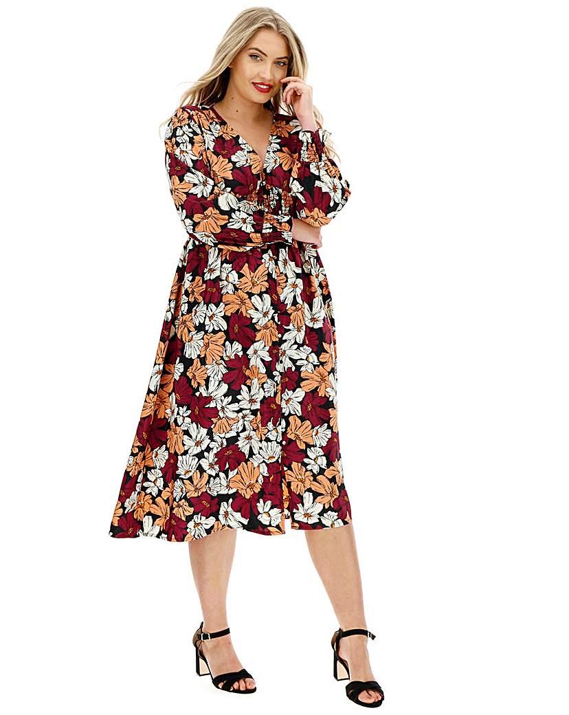 Neon Rose Floral Shirred Midi Dress