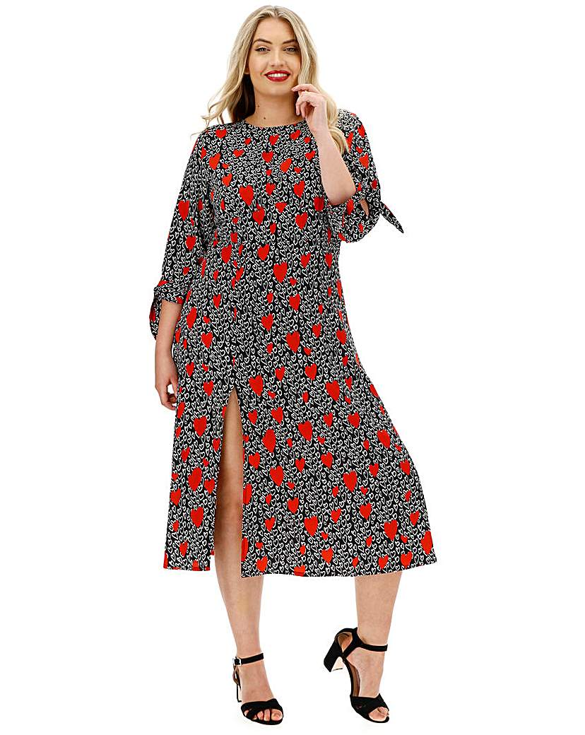 Neon Rose Heart Print Midi Dress