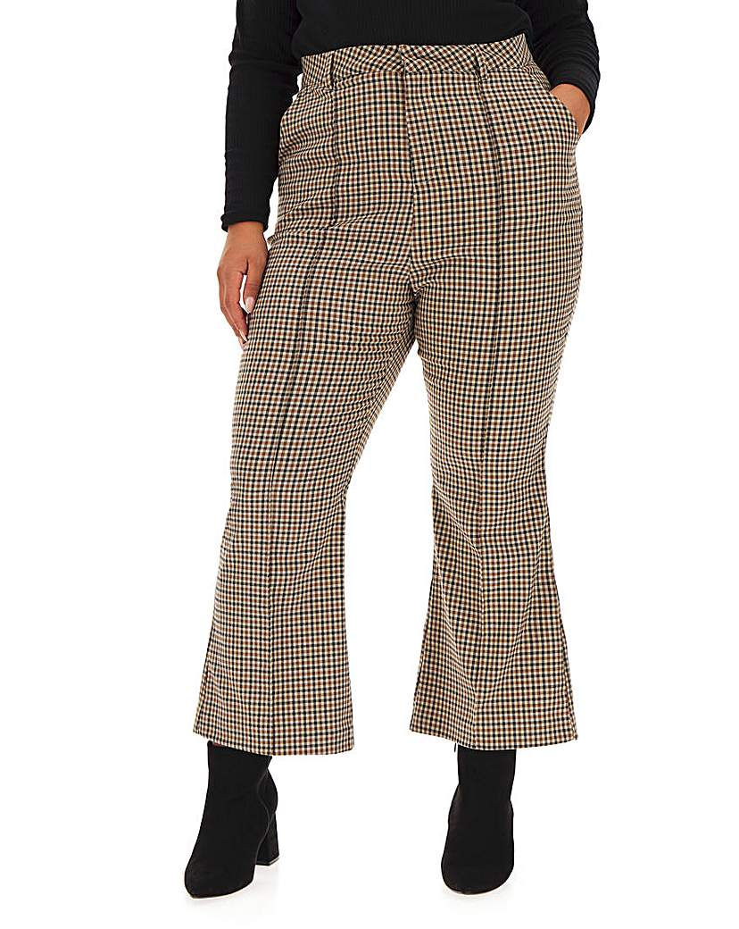Neon Rose Check Kick Flare Trousers