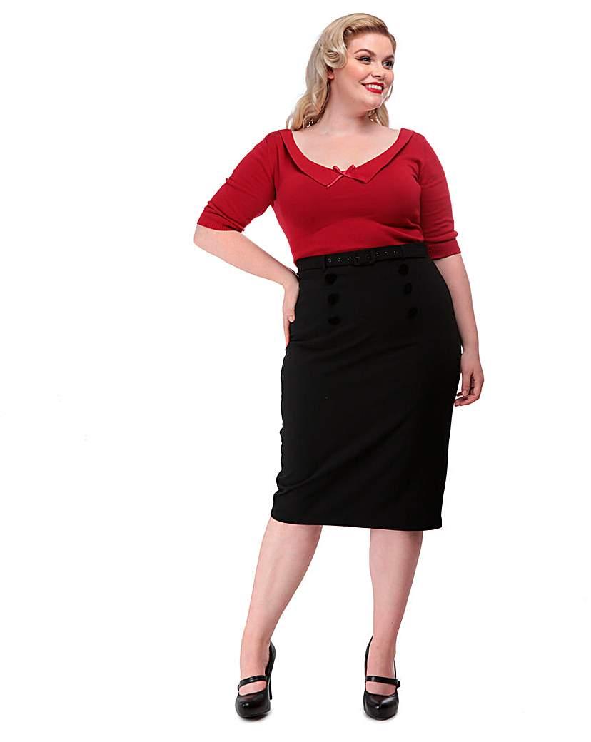 Collectif Agatha Plain Pencil Skirt