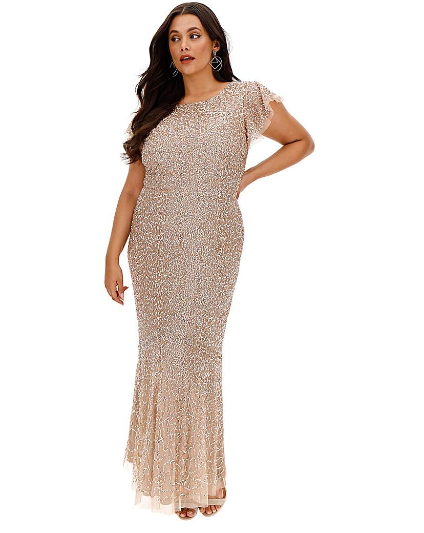 Maya Curve Sequin Cap Sleeve Maxi Dress