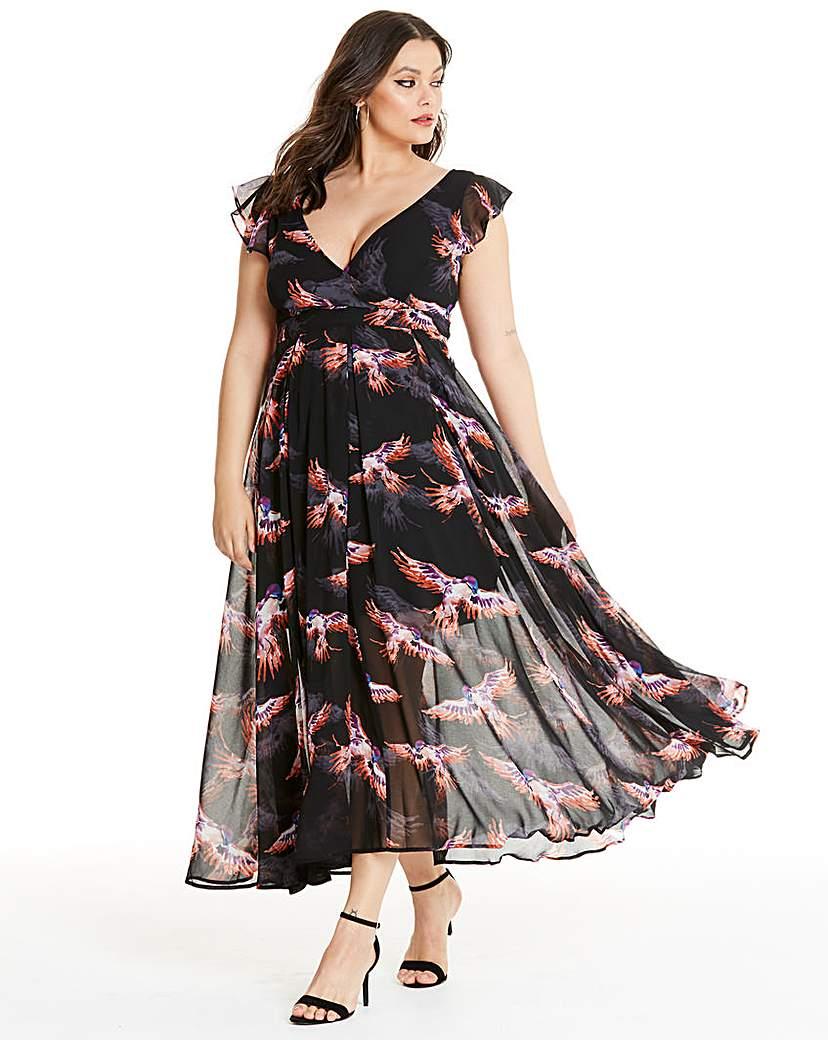 Religion Bird Print Maxi Dress