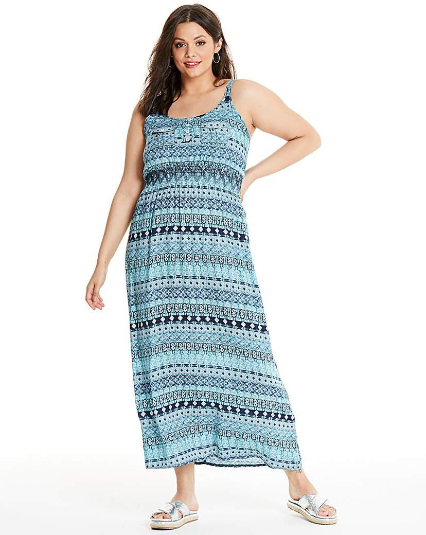 Apricot Apricot Blue Printed Maxi Dress