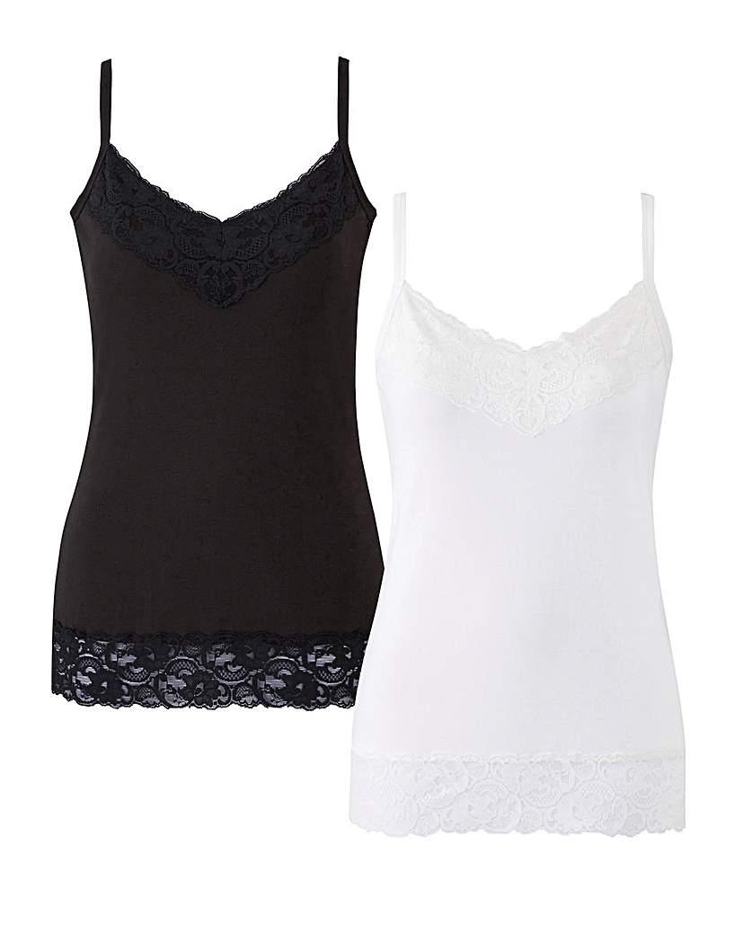 Joanna Hope Pack of 2 Lace Trim Vests