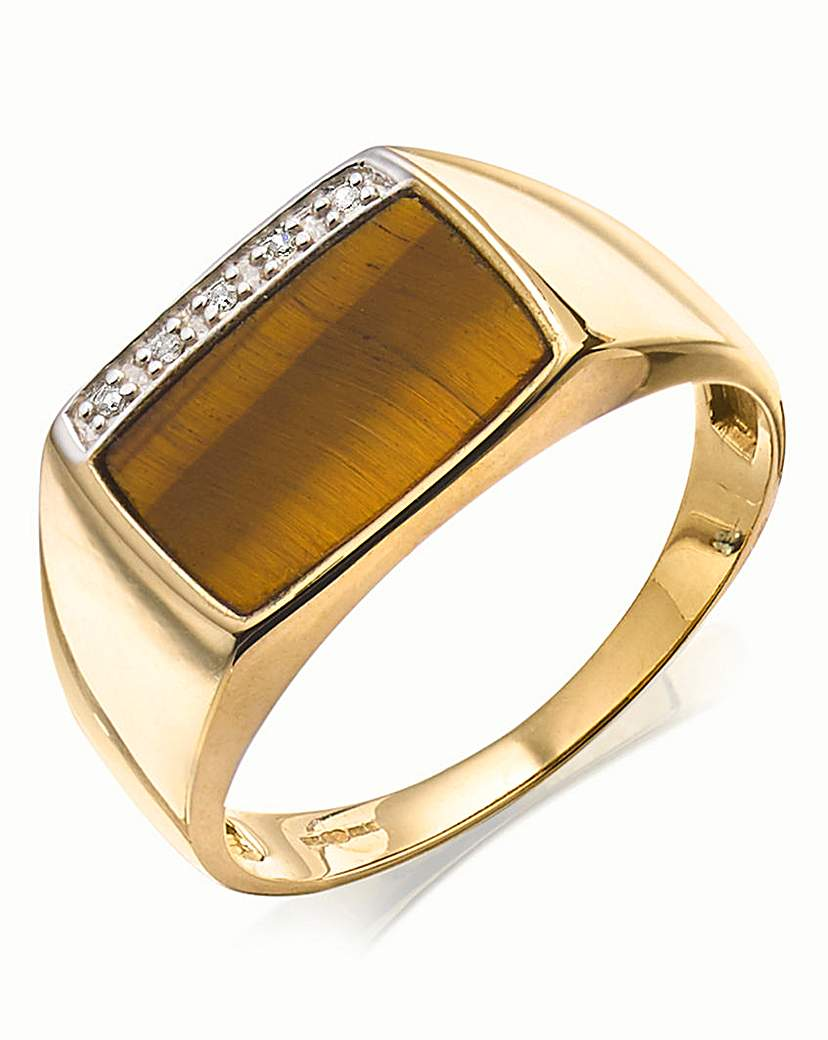 9 Carat Gold Oblong Stone Ring