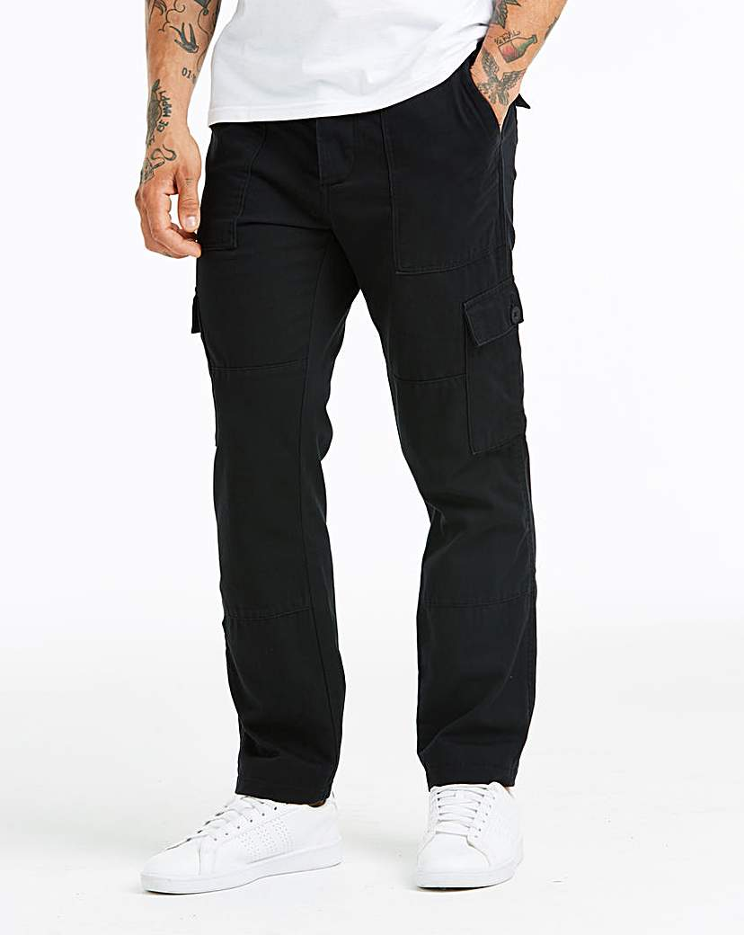 Image of Black Fatigue Detail Cargo Trouser 31 in