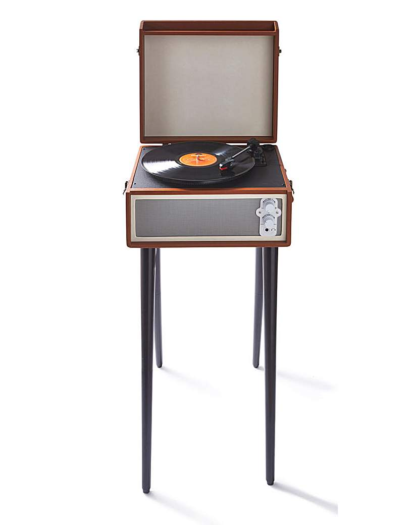 Image of Retro Record Player with Legs Brown