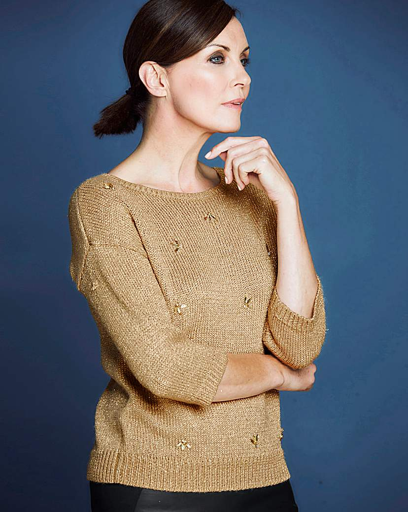 1950s Style Sweaters, Crop Cardigans, Twin Sets JOANNA HOPE Metallic Embellished Jumper £13.25 AT vintagedancer.com