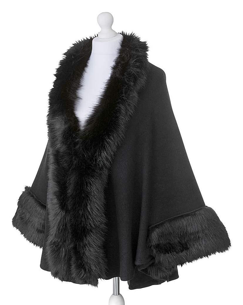 Retro Vintage Style Coats, Jackets, Fur Stoles JOANNA HOPE Faux-Fur Trim Cape £65.00 AT vintagedancer.com