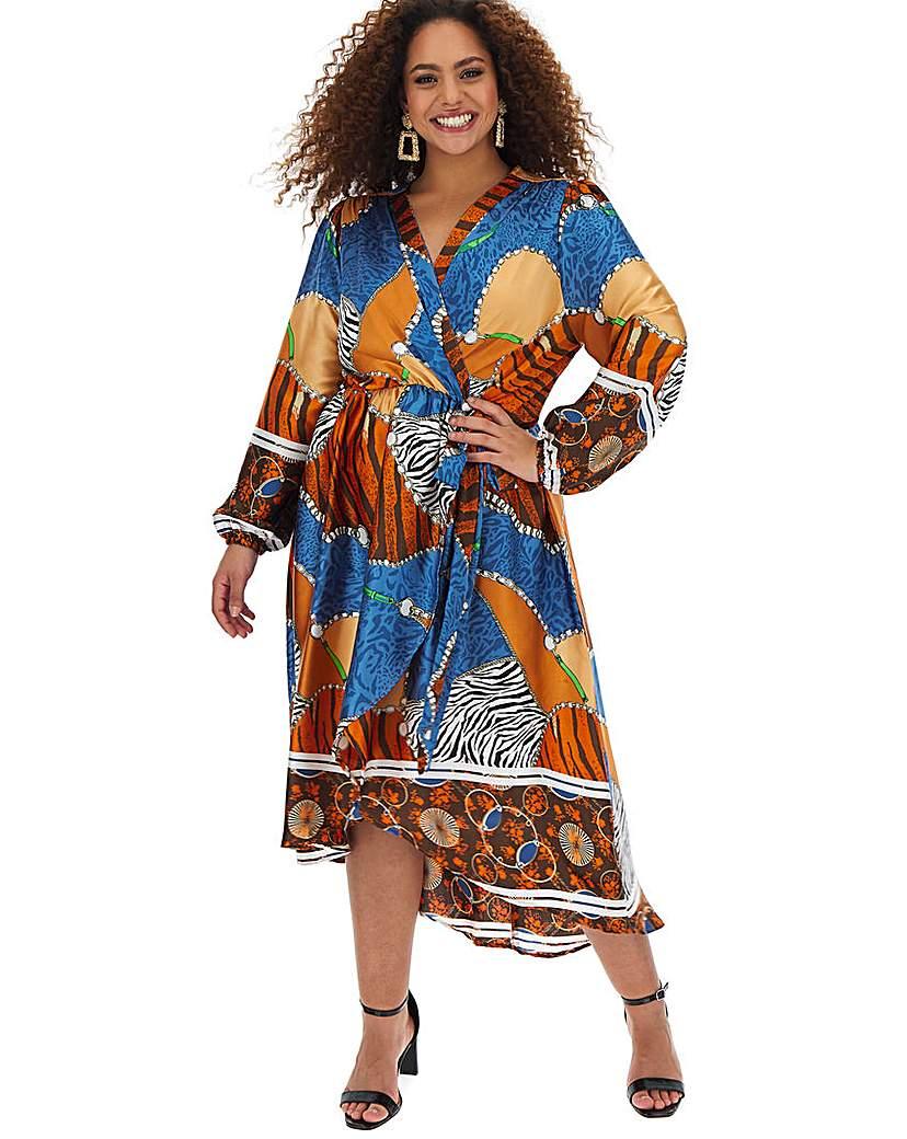 AX Paris AX Paris Scarf Print Dip Hem Wrap Dress