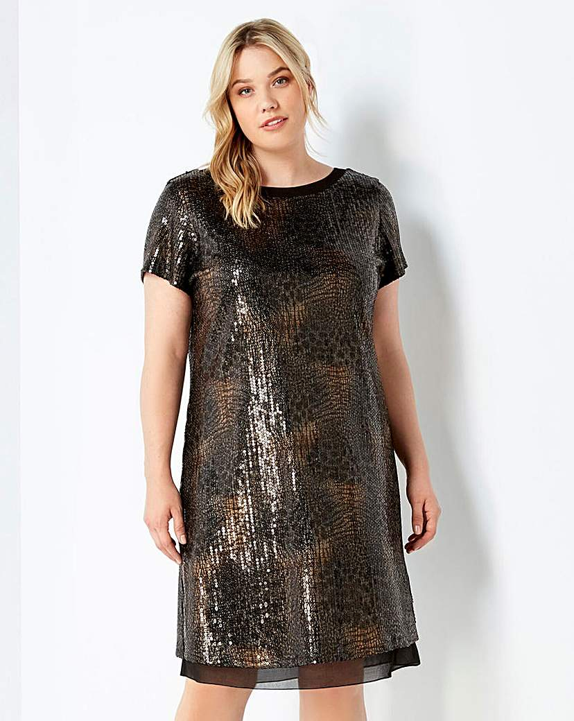 Live Unlimited Bow Detail Sequin Dress