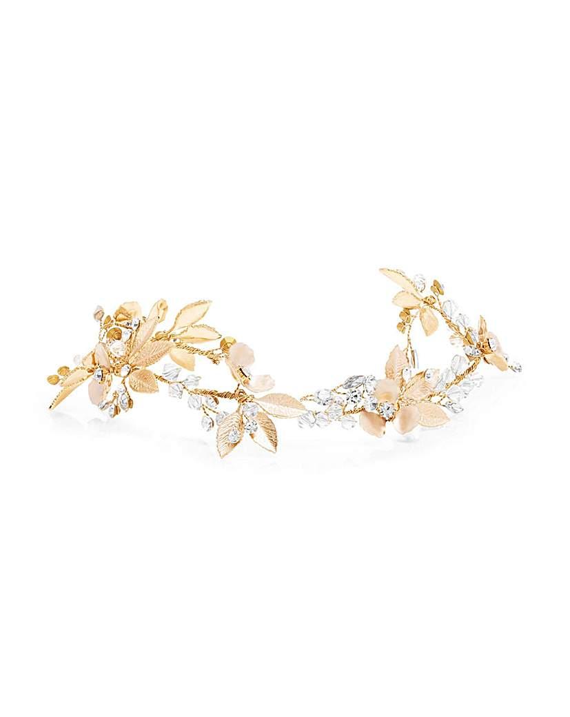 Jon Richard Jon Richard Gold Leaf & Floral Hair Vine