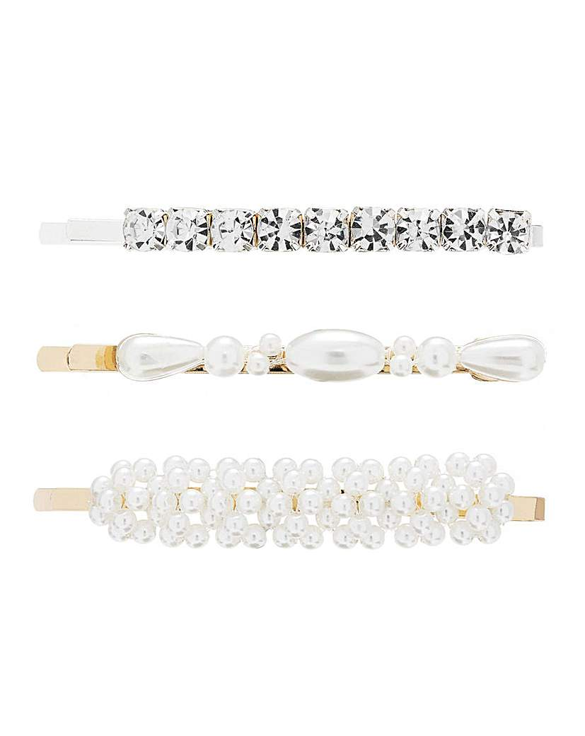 Lipsy Lipsy Gold Pearl Mixed 3 Pack Clips