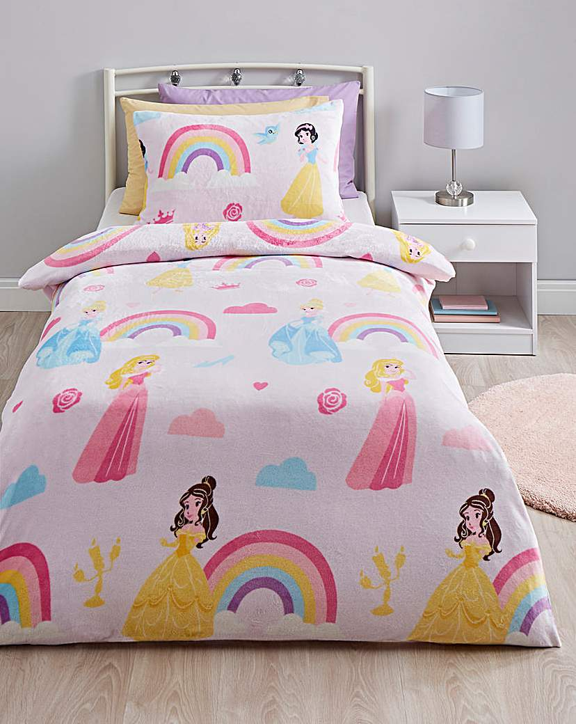 disney princess rainbow fleece duvet set