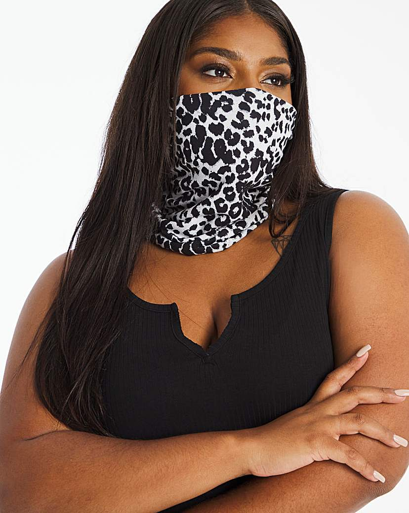 JD Williams Mono Leopard Print Snood Face Covering