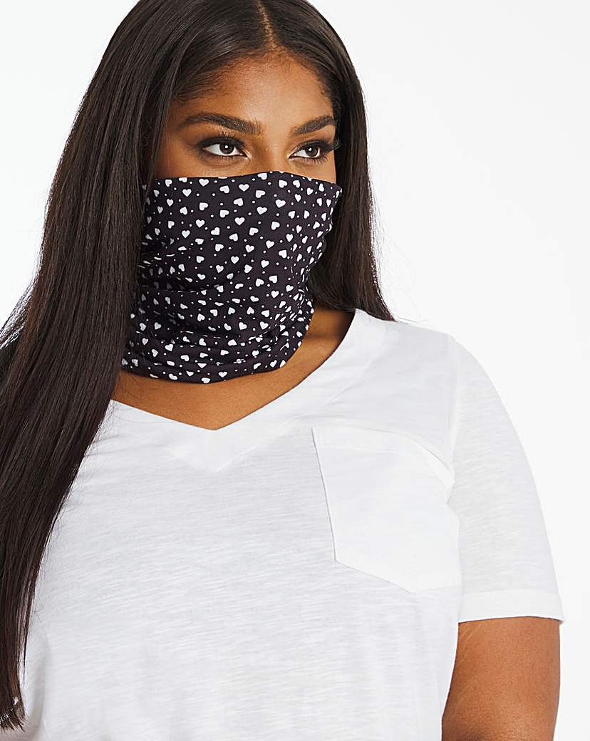 JD Williams Heart and Spot Print Snood Face Covering