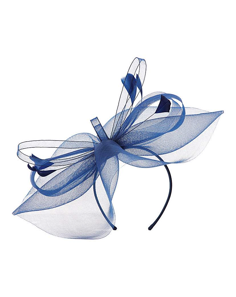 Feather Accent Fascinator Navy