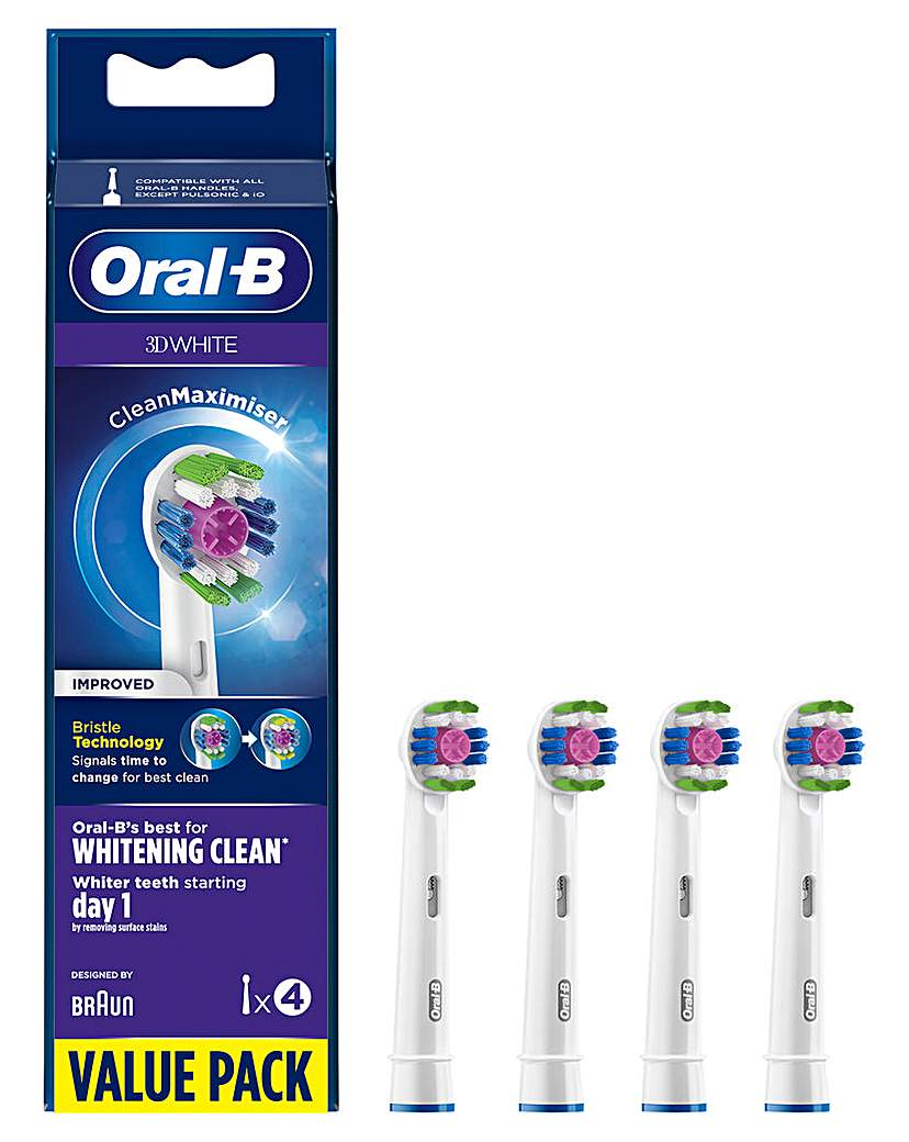 Oral-B 3D White 4 Pack Toothbrush Heads