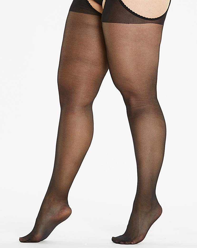 20 Denier Black Suspender Tights