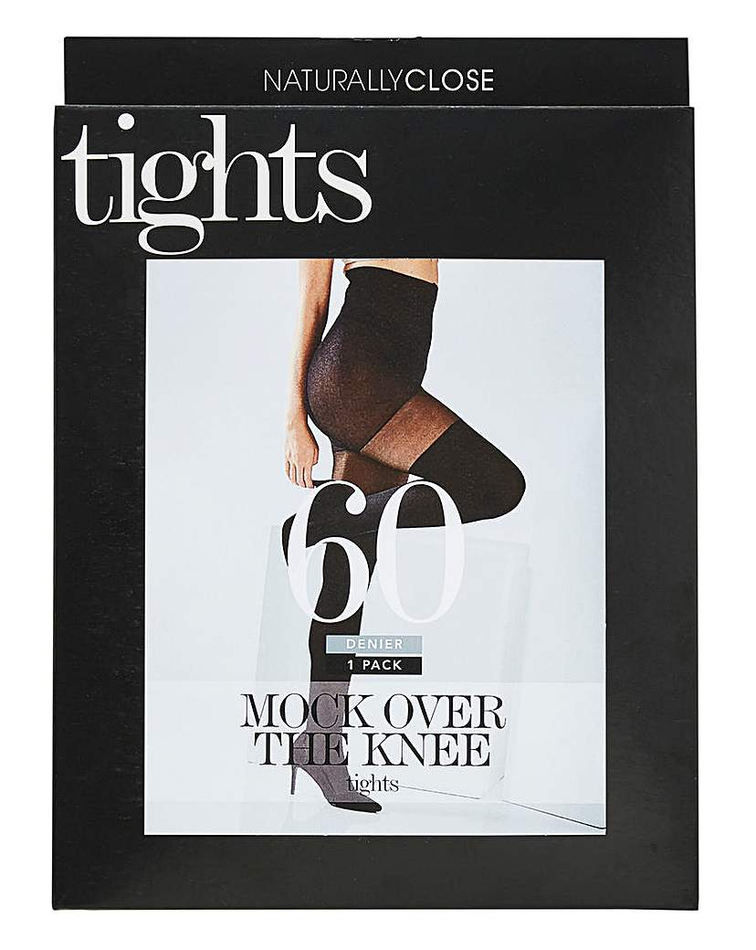 60 Denier Mock Over The Knee Blk Tights