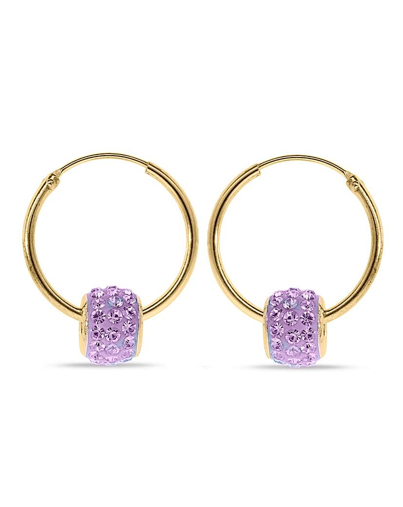 Crystal Glitz Crystal Glitz Purple Crystal Hoops