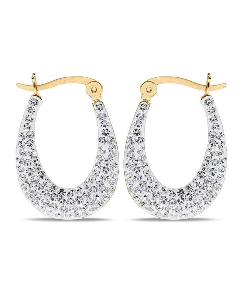 Crystal Glitz 9ct Gold Gold Crystal Creoles