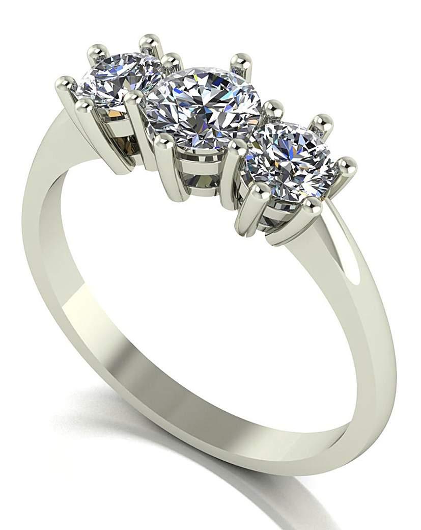 Moissanite 9ct White Gold 3 Stone Ring