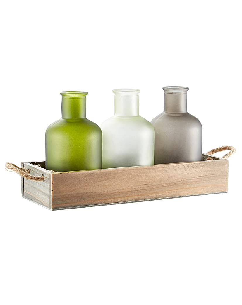 Tray with 3 Glass Bottles
