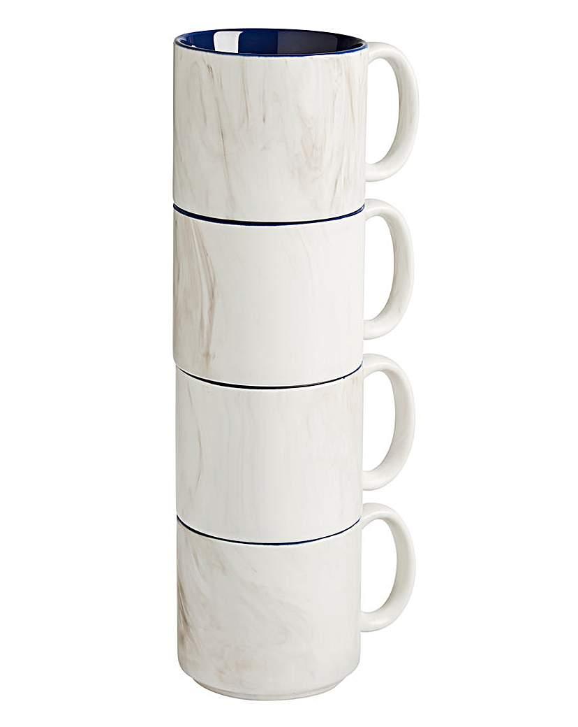 Image of 4pc Marble Stacking Mugs