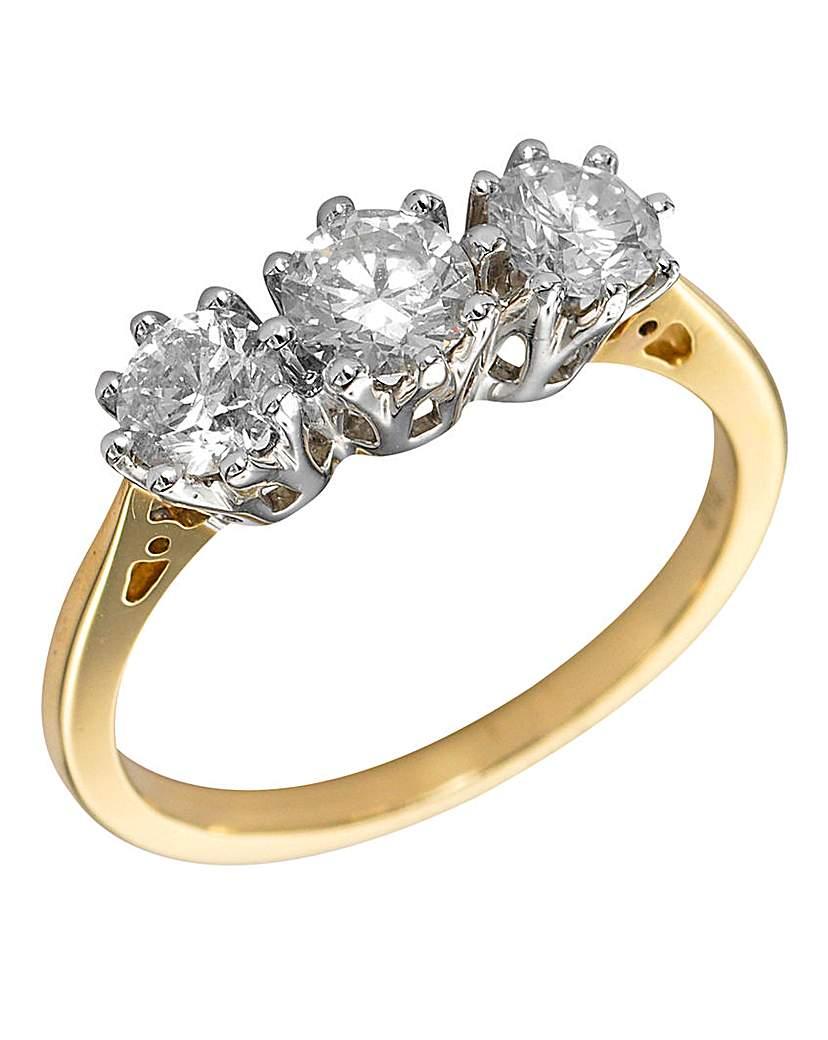 9Ct Yellow Gold Diamond Trilogy Ring