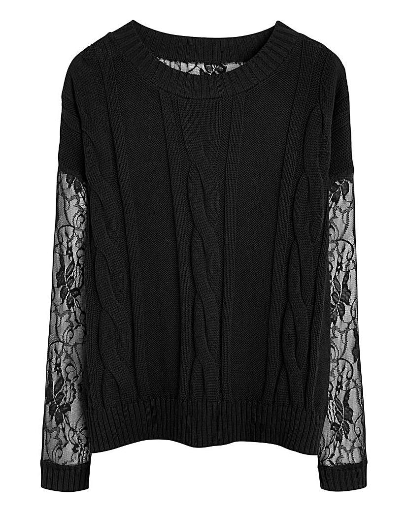 Simply Be Cable Knit with Lace Jumper