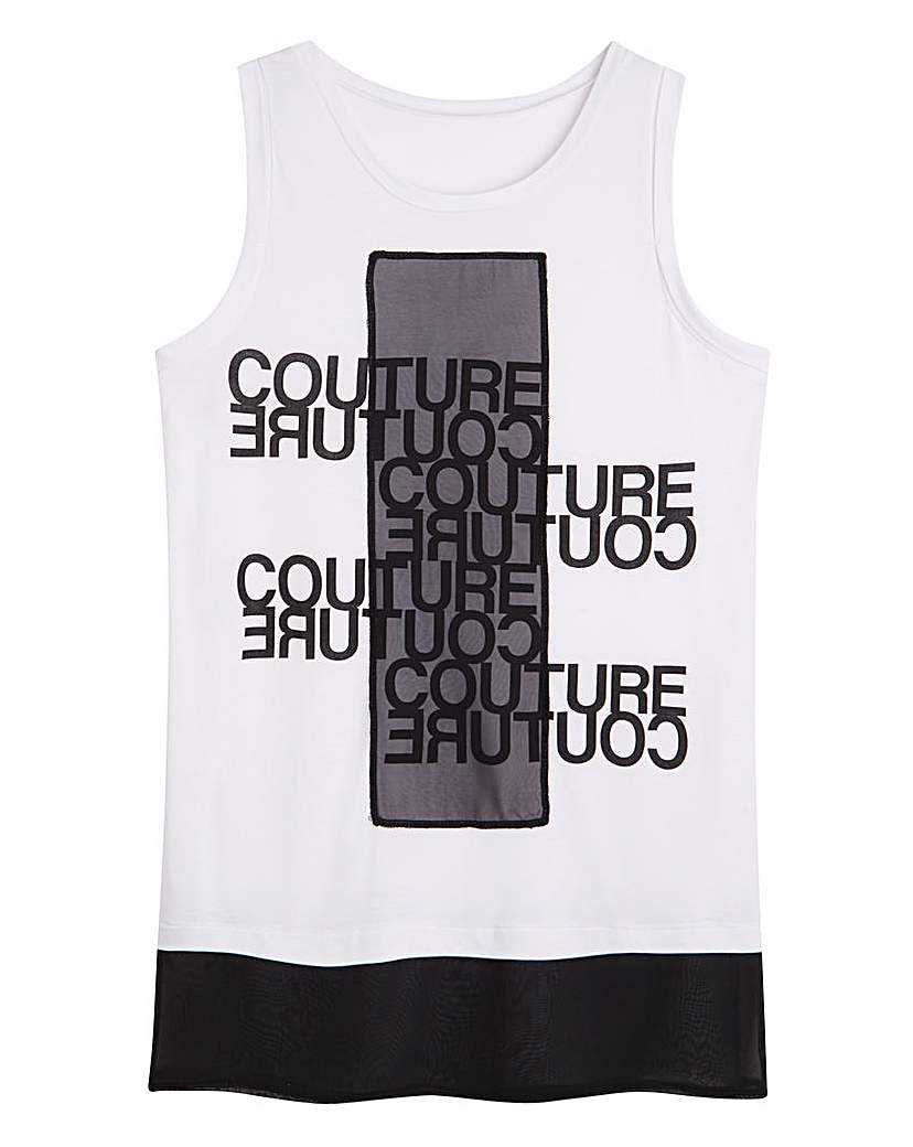 Simply Be Slogan Vest with Woven Trim