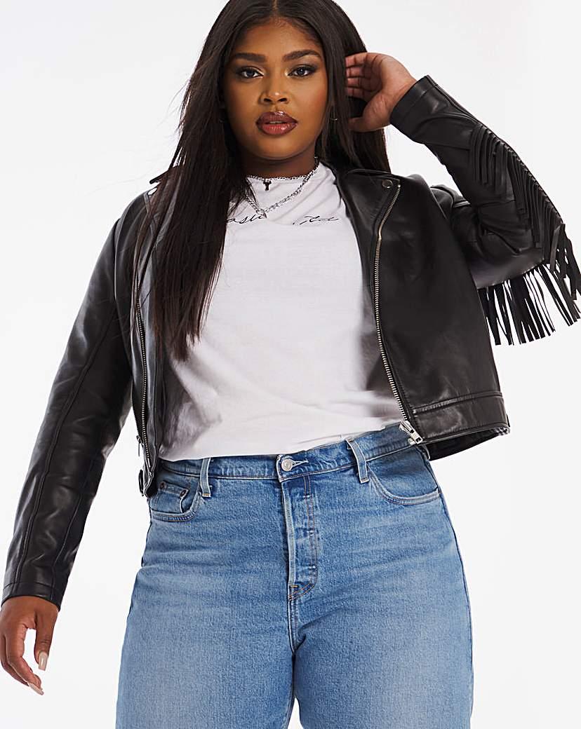 Joanna Hope Joanna Hope Fringe Leather Jacket