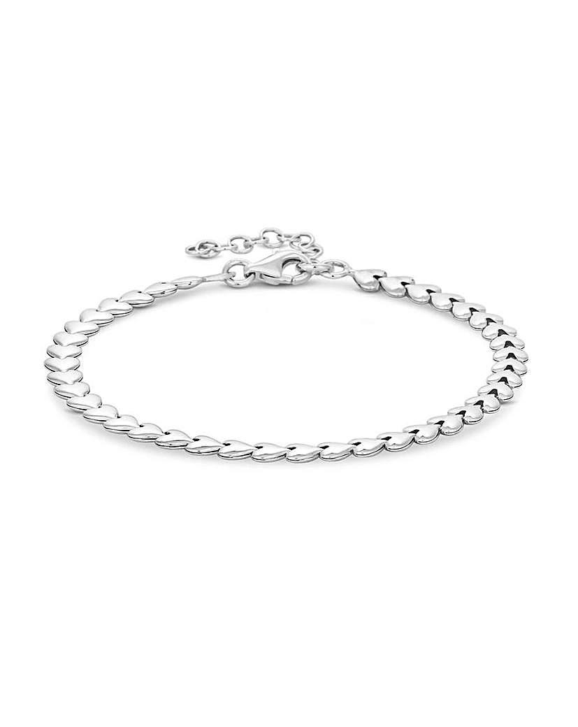 Simply Silver Heart Row Bracelet